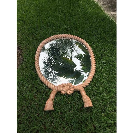 Hollywood Regency Vintage Rope and Tassel Oval Mirror Green Is Grass It Was Photographed On For Sale - Image 3 of 5