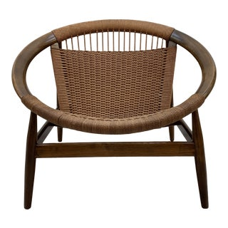 1970s Vintage Illum Wikkelso Ringstol Walnut and Woven Cord Ring Hoop Circle Chair For Sale