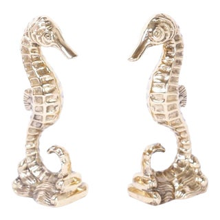Brass Seahorse Bookends - a Pair For Sale