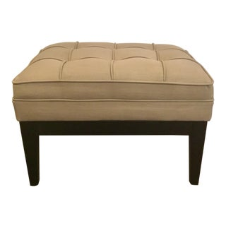 Modern Taupe Tufted Ottoman For Sale