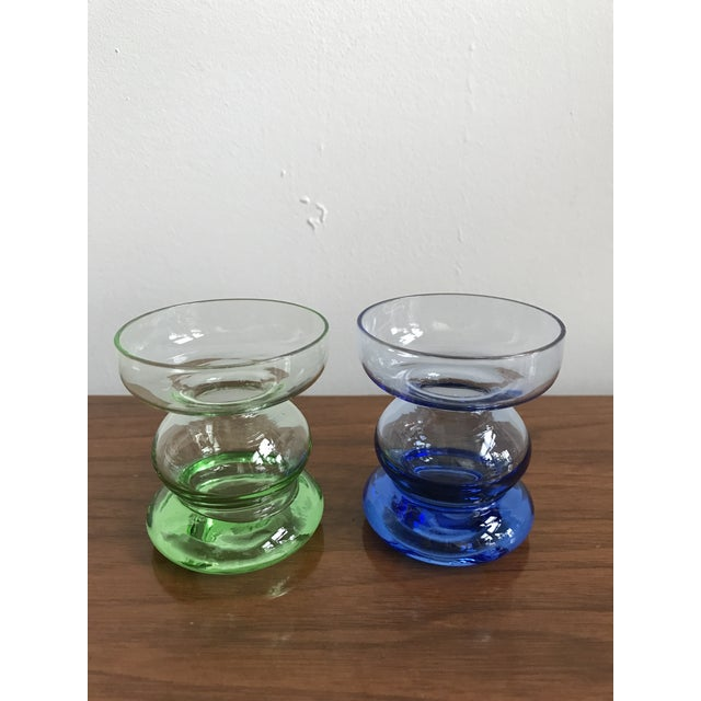 Mid Century Glass Candle Stick Holders - a Pair - Image 7 of 7