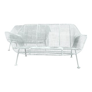 Russell Woodard Mid Century Modern Sculptura Wrought Iron Patio Settees / Loveseats - a Pair For Sale
