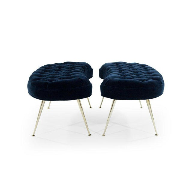 1960s Tufted Benches in Deep Blue Mohair (Pair Available) For Sale - Image 5 of 12