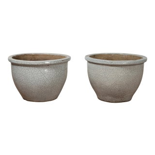 Vintage Chinese Cracked Celadon Circular Tapering Planters - A Pair For Sale