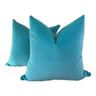 "22"" Tiffany Blue"" Velvet Pillows - a Pair"
