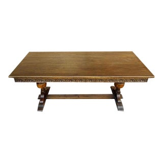 1960s British Colonial Oak Carved Trestle Coffee Table