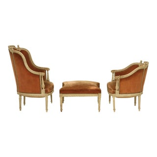 Louis XVI Style Duchesse Brisee in Original Lacquer and Mohair