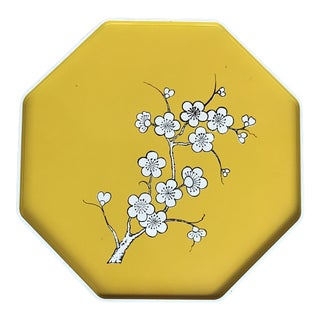 Mid-Century Modern Octagonal Yellow Lacquer Tray With White Cherry Blossoms For Sale