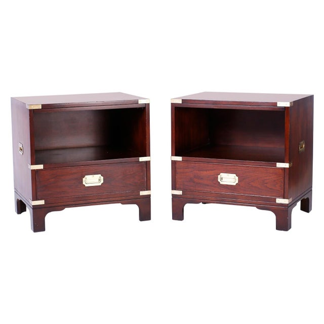 Midcentury Campaign Style Nightstands - A Pair For Sale - Image 10 of 10