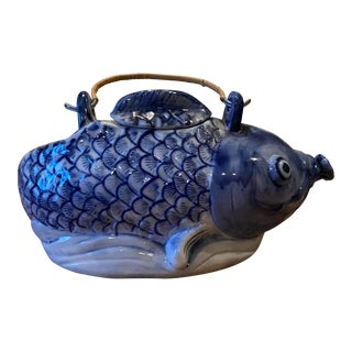Mid 20th Century Vintage Asian Hand Painted Fish Teapot With Wicker Handle For Sale