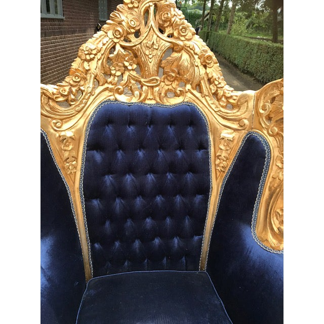 Baroque / Rococo Style Dark Blue Velvet Chairs - a Pair For Sale - Image 5 of 7