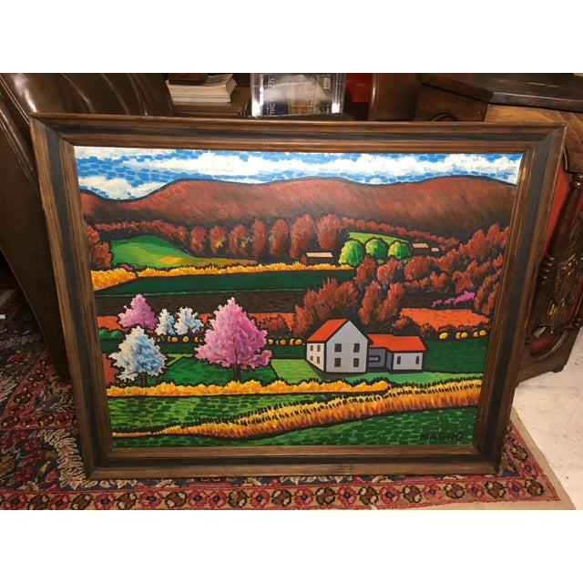 Canvas Late 20th Century Fall Landscape Oil on Canvas Painting For Sale - Image 7 of 8