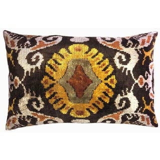 Silk Velvet Down Feather Ikat Accent Pillow