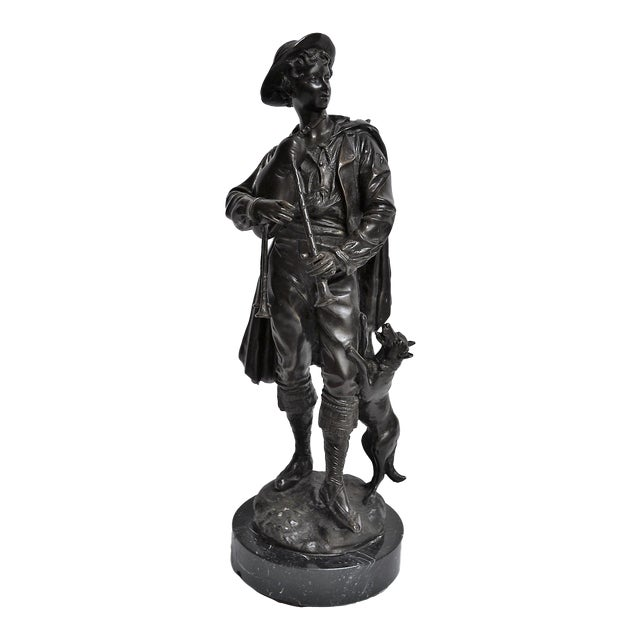 Antique Bronze of Scottish Highlander With Bagpipes For Sale