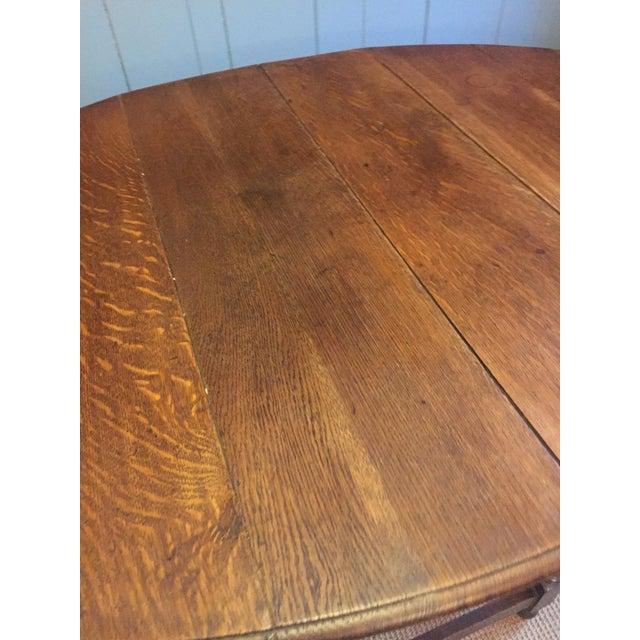 English Barley Twist Leg, Drop Leaf Oval Dark Oak Dining Table For Sale - Image 3 of 13