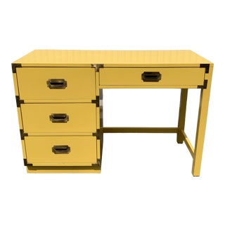 1960s Campaign Style Canary Yellow Writing Desk For Sale