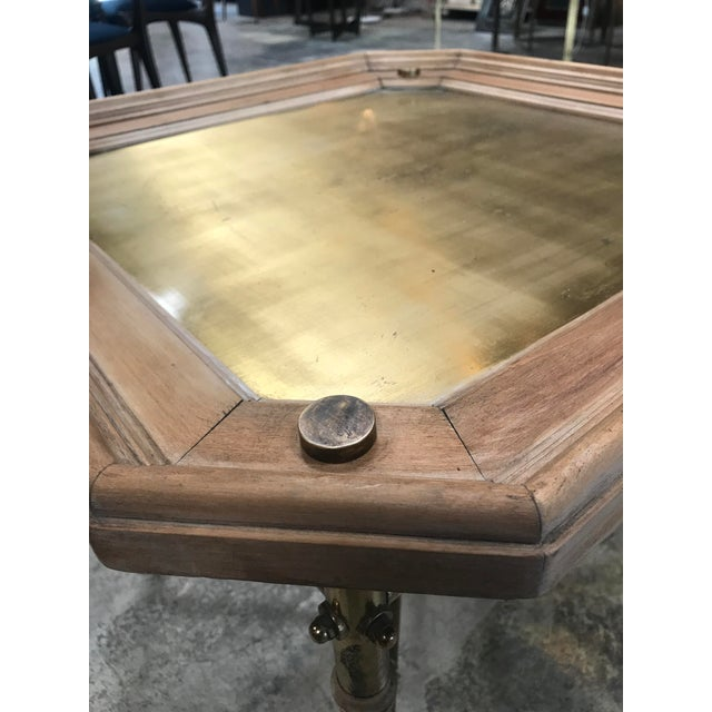1960s Italian Coffee table or side table in brass and wood. For Sale - Image 5 of 6