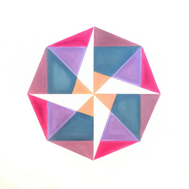 """""""Fuchsia to Coral"""" Pink Geometric Painting by Natasha Mistry For Sale - Image 4 of 4"""