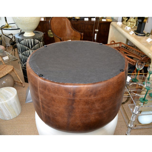 Modern Round Hand-Crafted Leather Ottoman, Pouf in Antique Leather, Contemporary For Sale - Image 11 of 13