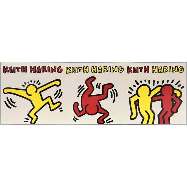 "Vintage Keith Haring gallery announcement, San Francisco, 1991. ""Keith Haring Celebrating Humanity"" at the Meyerovich..."