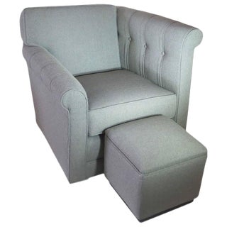 American Art Deco Modernage Asymmetrical Chair and Ottoman
