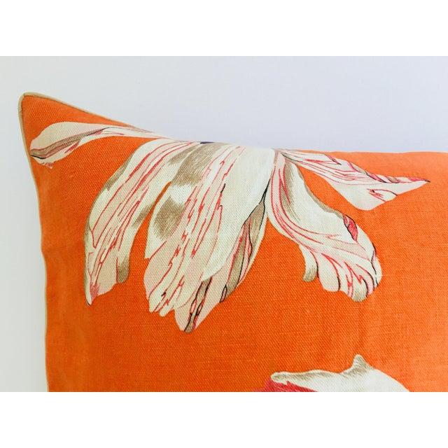 Modern Mid Century Jim Thompson Orange Designer Decorative Pillow With Lotus Flower Print For Sale - Image 3 of 10