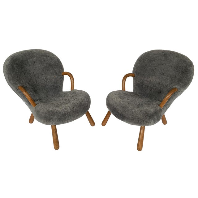 Philip Arctander for Paustian Gray Sheepskin Upholstered Lounge Chairs - a Pair For Sale - Image 13 of 13