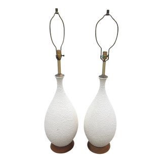 Mid-Century Ceramic & Walnut Table Lamps - a Pair For Sale