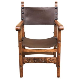 Catalan, Colonial Spanish Carved Armchair With Leather, 19th Century For Sale