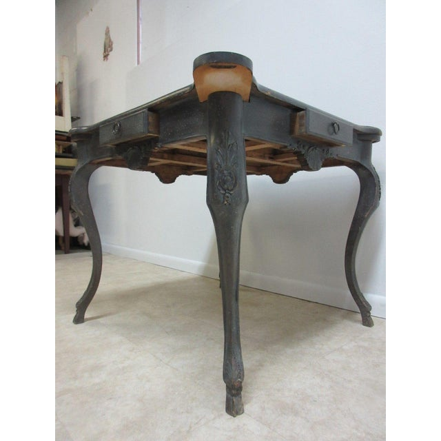 """Measurements ( l x w x h) 24.5 X 24.5 X 29.5"""" Age related wear and scratches.. Cracks in the leather... Please see our..."""