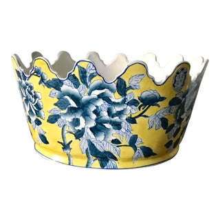 1980s Vintage Yellow and Blue Chinese Floral Planter For Sale