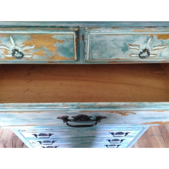 Boho Chic Distressed Coastal Solid Maple Tallboy/Dresser/Chest of Drawers For Sale - Image 3 of 10