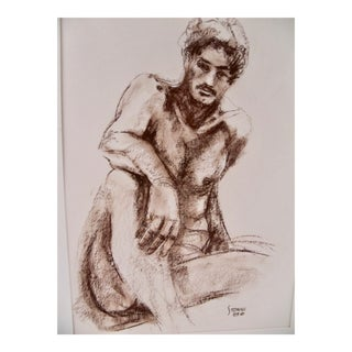 Male Nude Pastel Drawing For Sale