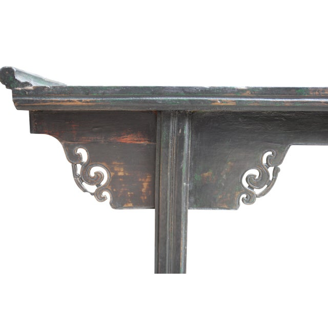 Wood Antique Chinese Elm Altar Console Table For Sale - Image 7 of 10