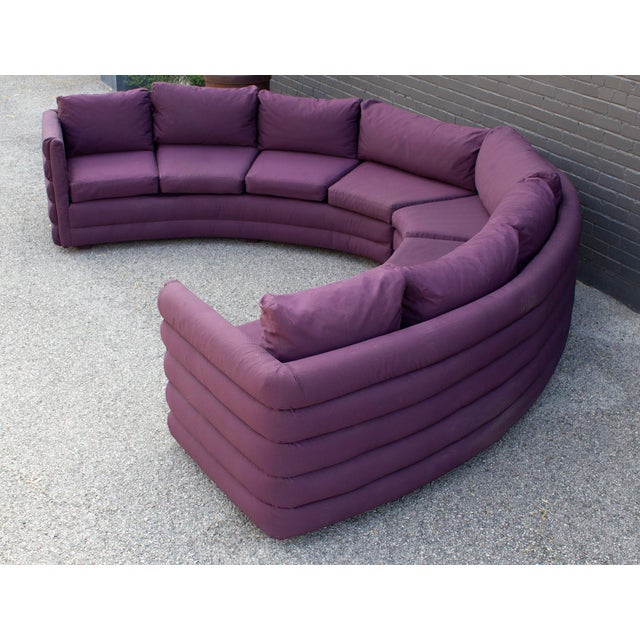 This Milo Baughman sofa is the epitome of 1970s high style design. The two-pieces together make a slightly acute...