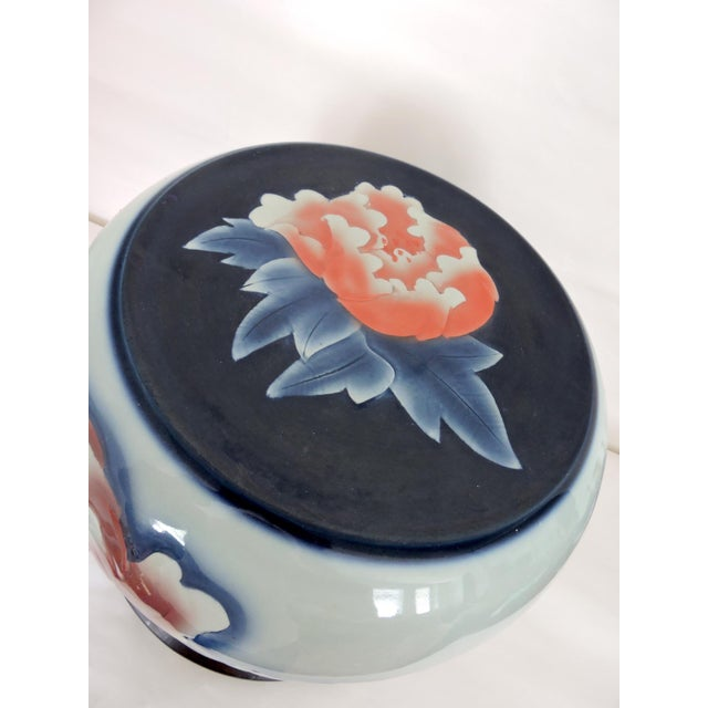 Contemporary 'Asian Peony' Ceramic Drum Seat or Garden Stool For Sale - Image 4 of 7
