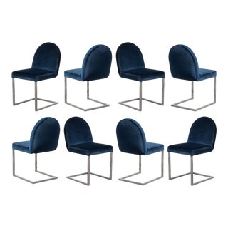 Mid-Century Cantilevered Chrome Dining Chairs in Navy Velvet, Set of 8 For Sale