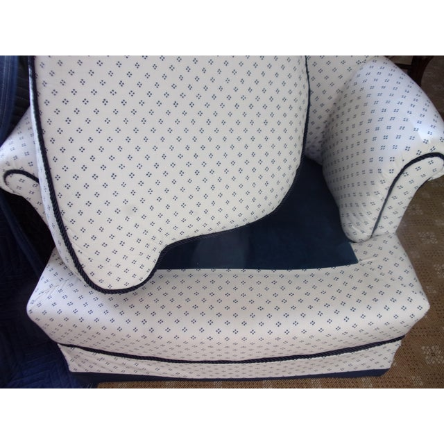 Custom Swivel Chairs, White & Navy, Pair For Sale - Image 9 of 10