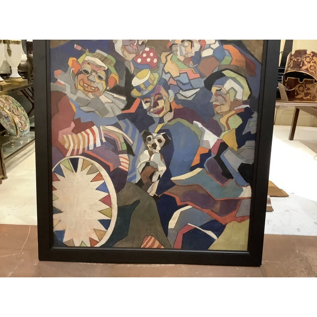 Mid-Century Modern Midcentury Cubist Style / Folk Art Clown Painting For Sale - Image 3 of 12