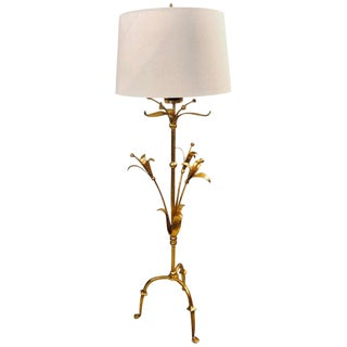 Hollywood Regency Tulip Form Solid Bronze Floor Standing or Tall Lamp For Sale