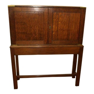 English Oak Campaign Cabinet on Stand For Sale