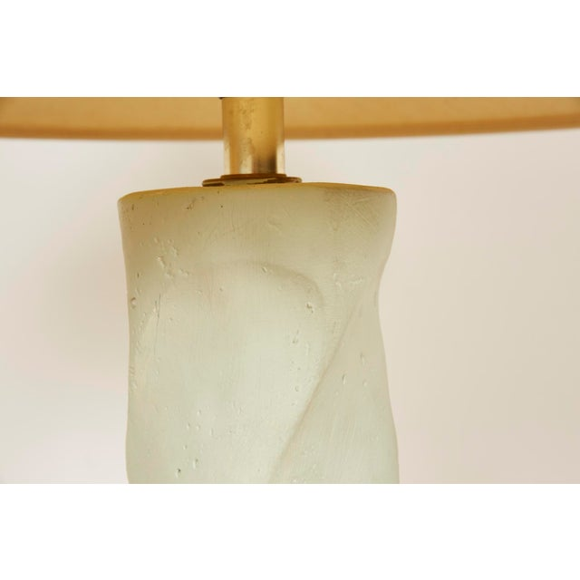 Aqua 1980s Michael Taylor Style Spiral Plaster Floor Lamp For Sale - Image 8 of 13