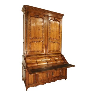 Rare 18th Century French Cherrywood Buffet Deux Corps Writing Desk For Sale
