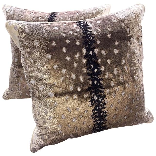 Belgian Antelope Velvet Pillows - A Pair - Image 1 of 4