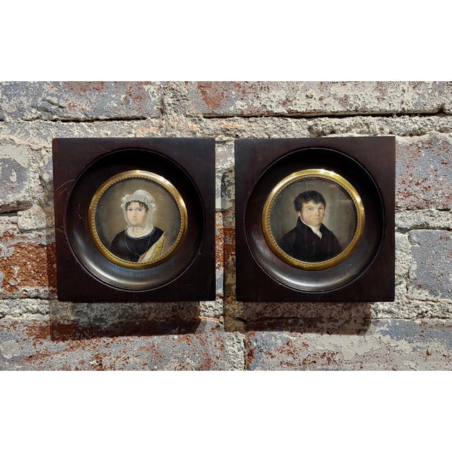 18th Century English School Husband & Wife Portraits Miniature Paintings - a Pair For Sale - Image 10 of 10