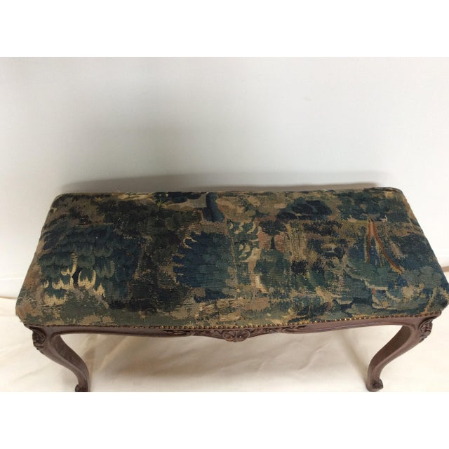 Early 18th Century 18th C Tapestry French Walnut Bench For Sale - Image 5 of 6