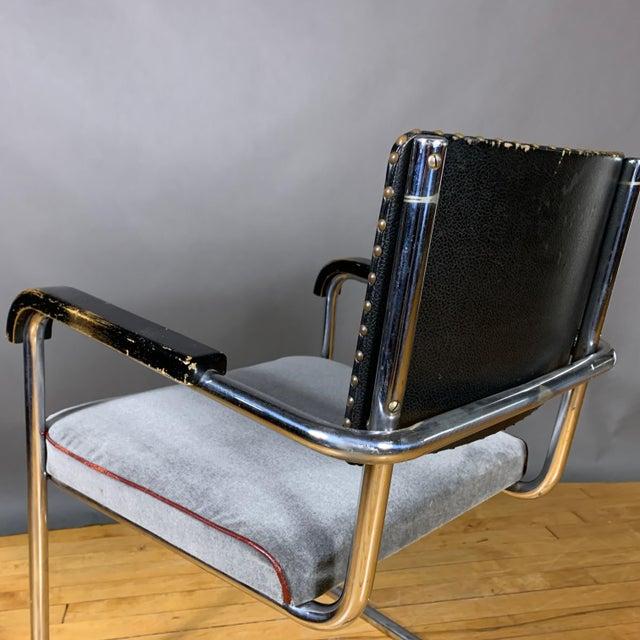1940s C1940 Tubular Chrome Cantilever Armchair, Velvet Seat For Sale - Image 5 of 9