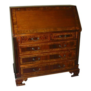 Desk Georgian Style Mahogany Hand Tooled For Sale