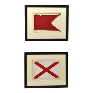 "Framed Signal Flag Letters ""B"" & ""V"" - a Pair For Sale"