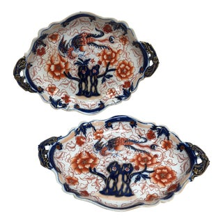 English Imari Style Ironstone Platters - a Pair